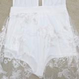 Vestido largo floral sexy de verano blanco con escote en v profundo