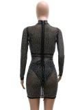 Mini vestido de club negro con cuentas sexy de otoño