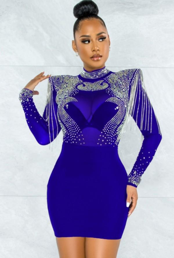 Vestido de fiesta sexy con flecos y cuentas de otoño azul