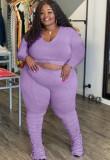 Conjunto de pantalón y camisa morada de talla grande de otoño