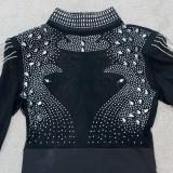 Vestido de fiesta sexy con flecos negros con cuentas de otoño