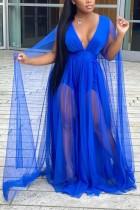 Vestido largo largo de malla en V profundo azul formal de talla grande de otoño