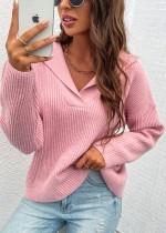 Suéter con cuello en V y cuello vuelto rosa otoño suéter regular