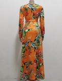 Vestido largo largo con estampado floral de otoño