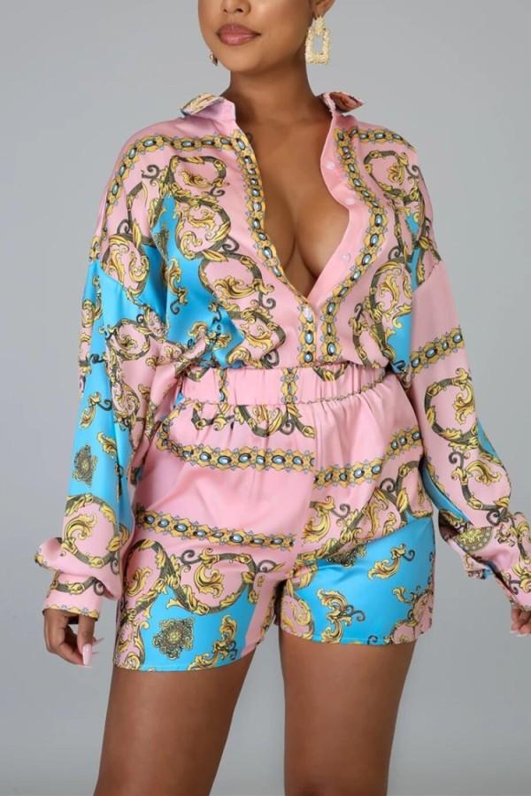 Conjunto de blusa y shorts africanos con estampado de otoño