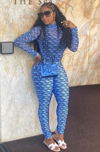 Completo camicia e leggings attillati blu con stampa autunnale