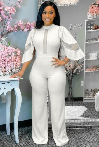 Autumn Formal White Patch Sexy Jumpsuit