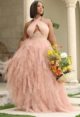 夏のフォーマルピンクメッシュホルターロングイブニングドレス
