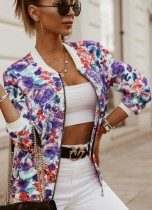 Autumn Print Flower Zipper Long Sleeve Jacket