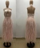 Vestido de noche largo con cuello halter de malla rosa formal de verano