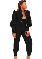 Sonbahar Solid Düz Siyah Kabarık Kol Ceket ve Yüksek Bel Pantolon Takım
