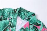 Conjunto de blusa anudada verde con estampado de verano y pantalón corto a juego
