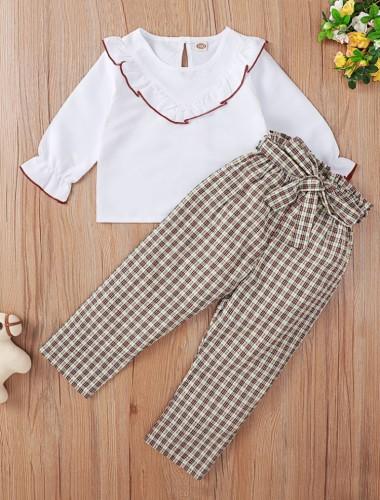Kids Girl Autumn White Ruffle Shirt and Plaid Print Pants Set