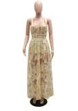 Conjunto de falda larga y top de tirantes anchos florales beige sexy de verano