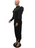 Otoño sólido liso negro chaqueta de manga abullonada y conjunto de pantalones de cintura alta