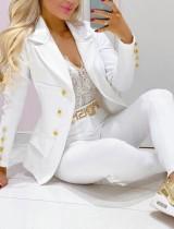 Sonbahar Beyaz Devirme Yaka Profesyonel Blazer ve Pantolon Takım
