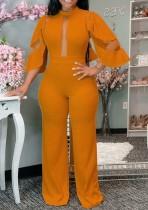 Herbst formaler orangefarbener Patch Sexy Jumpsuit