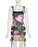 Vestido de fiesta con tirantes y cordones sexy con estampado floral de verano