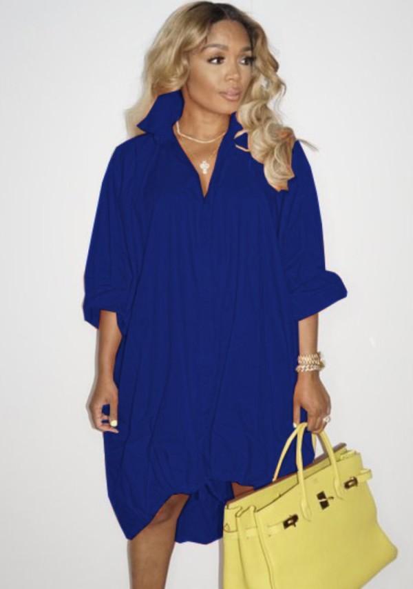 Vestido de blusa suelta con dobladillo alto y bajo con cordones azul de otoño