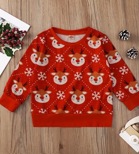 Kids Girl Print Christmas Round Neck Red Shirt