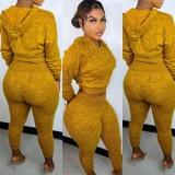 Otoño de dos piezas de tejido con capucha amarilla Top y pantalones Sweatsuit