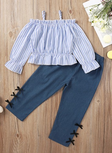 Kids Girl Autumn Stripes Strap Top and Solid Plain Pants Set
