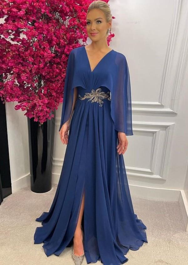 Vestido de noche largo formal azul profundo en V de otoño