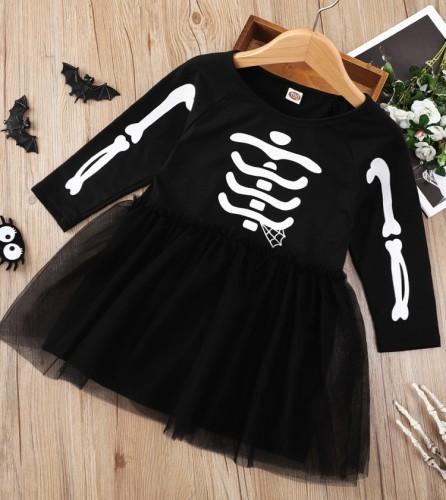 Kids Girl Autumn Black Print Halloween Dress