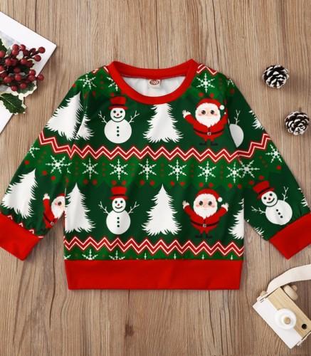 Kids Girl Print Christmas Round Neck Green Shirt