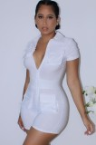 Summer White Turndown Collar Short Sleeves Tight Rompers with Pockets