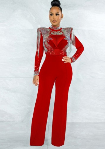 Autumn Formal Red Bead Upper Fringe Sexy Jumpsuit