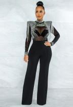 Herbst formaler schwarzer Perlenoberfransen-reizvoller Overall