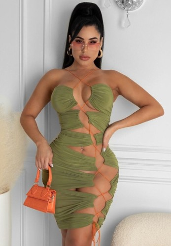 Summer Green Sexy Lace-Up Bodycon Party Dress