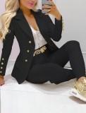 Traje de pantalón y chaqueta profesional con cuello de cobertura negro de otoño