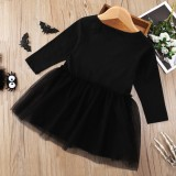 Vestido de Halloween con estampado negro de otoño para niña