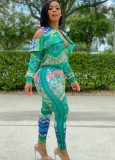 Set mit Herbst-Print-Grün ausgeschnittener Reißverschlussjacke und passender Hose