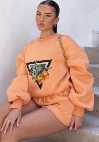Autumn Print Orange Round Neck Sweatshirt and Shorts Set