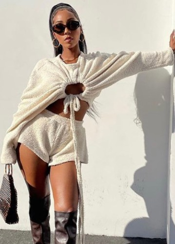 Autumn White Fleece Keyhole Strings Crop Top and Shorts Set