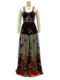 Vestido de malla largo floral con correa negra formal de verano