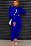 Conjunto de chaqueta de manga abullonada azul liso de otoño y pantalones de cintura alta