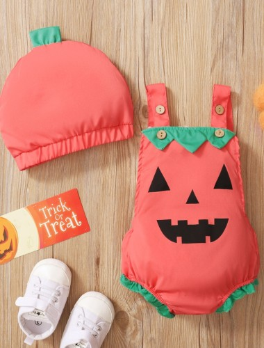 Baby Girl Print Halloween Strampler mit passender Mütze