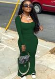 Vestido ajustado largo cuadrado verde casual de otoño