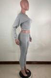Otoño de dos piezas que hace punto gris sudadera con capucha y pantalón traje de chándal