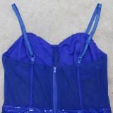 Mini abito da club estivo formale con cinturino in paillettes blu