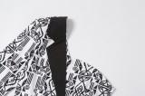 Blazer irregular con estampado blanco y negro de otoño con una sola manga