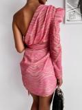 Vestido de fiesta cruzado de un hombro con estampado de cebra de otoño y una sola manga