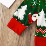 Camisa verde con cuello redondo y estampado navideño para niña infantil