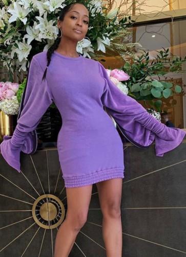Autumn Purple Round Neck Tight Sweat Dress