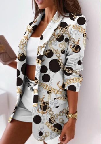 Eleganter Büro-Blazer mit Umlegekragen im Herbst-Print