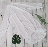 Vestido de blusa suelta con dobladillo con cordones blancos de otoño